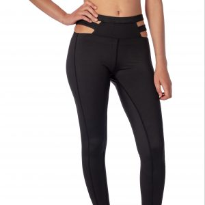 A model wearing cute black yoga pants with strappy waist cutouts from Thomas Michael Fashions